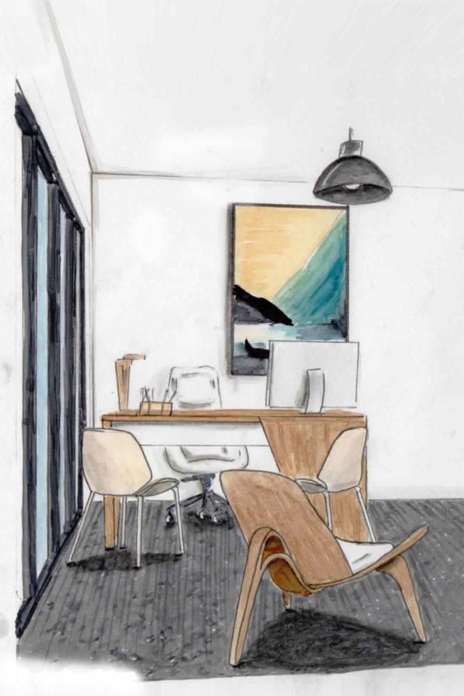 Décoration et aménagement intérieur croquis bureau