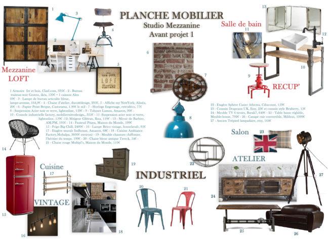 planche mobilier Decoration interieure